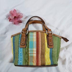 FOSSIL Canvas/Straw/Leather Handbag